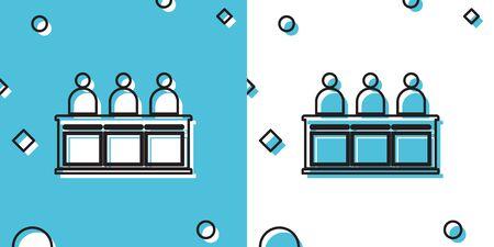 Black Jurors icon isolated on blue and white background. Random dynamic shapes. Vector Illustration Ilustrace
