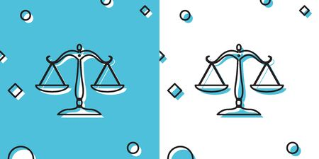 Black Scales of justice icon isolated on blue and white background. Court of law symbol. Balance scale sign. Random dynamic shapes. Vector Illustration