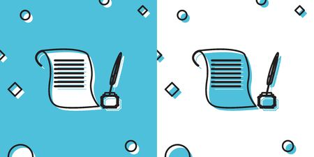 Black Feather in the inkwell and paper scroll icon isolated on blue and white background. Random dynamic shapes. Vector Illustration Ilustrace