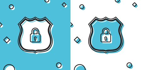 Black Shield security with lock icon isolated on blue and white background. Protection, safety, password security. Firewall access privacy sign. Random dynamic shapes. Vector Illustration