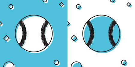 Black Baseball ball icon isolated on blue and white background. Random dynamic shapes. Vector Illustration Ilustrace