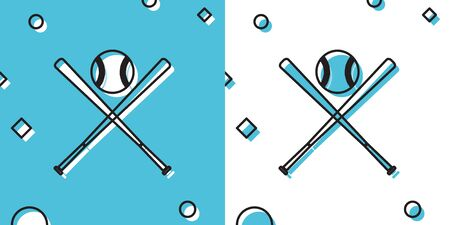 Black Crossed baseball bats and ball icon isolated on blue and white background. Random dynamic shapes. Vector Illustration Ilustrace