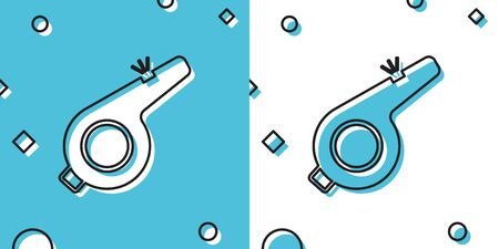 Black Whistle icon isolated on blue and white background. Referee symbol. Fitness and sport sign. Random dynamic shapes. Vector Illustration