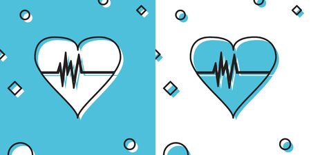 Black Heart rate icon isolated on blue and white background. Heartbeat sign. Heart pulse icon. Cardiogram icon. Random dynamic shapes. Vector Illustration Ilustrace
