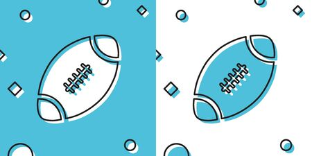 Black American Football ball icon isolated on blue and white background. Random dynamic shapes. Vector Illustration Ilustrace
