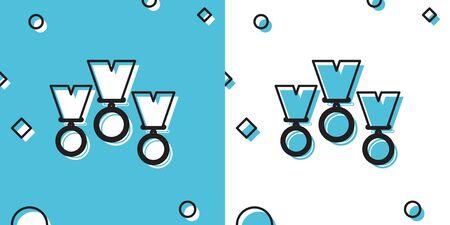 Black Medal set icon isolated on blue and white background. Winner simbol. Random dynamic shapes. Vector Illustration