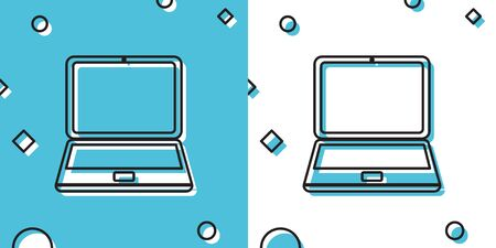 Black Laptop icon isolated on blue and white background. Computer notebook with empty screen sign. Random dynamic shapes. Vector Illustration