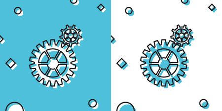 Black Gear icon isolated on blue and white background. Cogwheel gear settings sign. Cog symbol. Random dynamic shapes. Vector Illustration