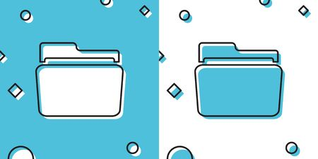 Black Folder icon isolated on blue and white background. Random dynamic shapes. Vector Illustration