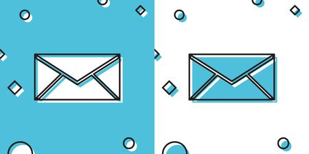 Black Envelope icon isolated on blue and white background. Email message letter symbol. Random dynamic shapes. Vector Illustration