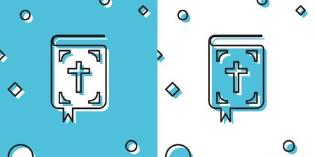 Black Bible book icon isolated on blue and white background. Holy Bible book sign. Random dynamic shapes. Vector Illustration
