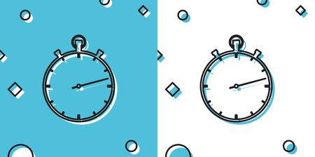 Black Stopwatch icon isolated on blue and white background. Time timer sign. Random dynamic shapes. Vector Illustration