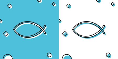 Black Christian fish symbol icon isolated on blue and white background. Jesus fish symbol. Random dynamic shapes. Vector Illustration