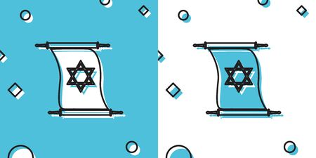 Black Torah scroll icon on blue and white background. Jewish Torah in expanded form. Torah Book sign. Star of David symbol. Simple old parchment scroll. Random dynamic shapes. Vector Illustration Иллюстрация