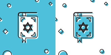 Black Jewish torah book icon on blue and white background. The Book of the Pentateuch of Moses. On the cover of the Bible is the image of the Star of David. Random dynamic shapes. Vector Illustration Иллюстрация