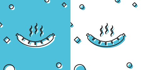 Black Sausage with steam icon isolated on blue and white background. Grilled sausage and aroma sign. Random dynamic shapes. Vector Illustration