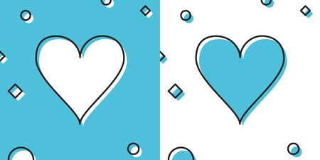 Black Heart icon isolated on blue and white background. Love symbol. Valentines Day sign. Random dynamic shapes. Vector Illustration Ilustrace