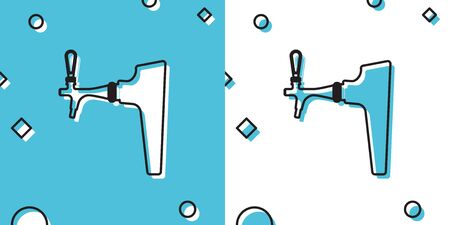 Black Beer tap icon isolated on blue and white background. Random dynamic shapes. Vector Illustration Ilustrace