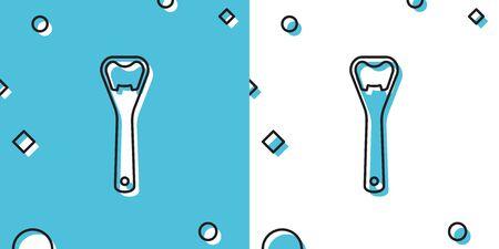 Black Bottle opener icon isolated on blue and white background. Random dynamic shapes. Vector Illustration