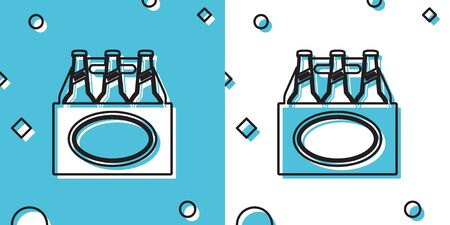 Black Pack of beer bottles icon isolated on blue and white background. Case crate beer box sign. Random dynamic shapes. Vector Illustration Ilustrace