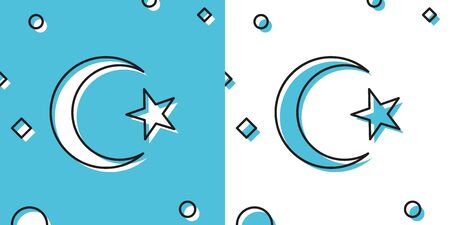 Black Star and crescent - symbol of Islam icon isolated on blue and white background. Religion symbol. Random dynamic shapes. Vector Illustration Ilustrace