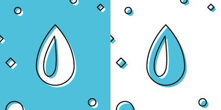 Black Drop icon isolated on blue and white background. Random dynamic shapes. Vector Illustration