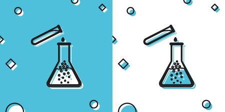 Black Test tube and flask - chemical laboratory test icon isolated on blue and white background. Laboratory glassware sign. Random dynamic shapes. Vector Illustration