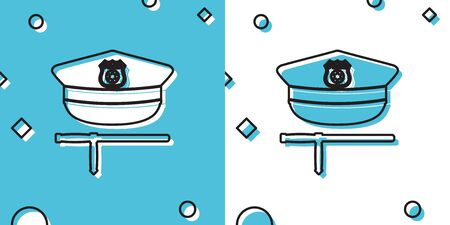 Black Police cap and rubber baton icon isolated on blue and white background. Security truncheons. Police stick. Policeman uniform. Random dynamic shapes. Vector Illustration Ilustrace
