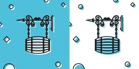 Black Street signboard hanging on forged brackets with barrel shaped wooden icon on blue and white background. Suitable for bar, cafe, pub, restaurant. Random dynamic shapes. Vector Illustration