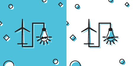 Black Wind mill turbine generating power energy and light bulb icon on blue and white background. Natural renewable energy production using wind mills. Random dynamic shapes. Vector Illustration