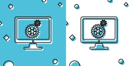 Black Computer monitor and gears icon on blue and white background. Monitor service concept. Adjusting app, setting, maintenance, repair, fixing concepts. Random dynamic shapes. Vector Illustration