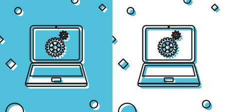 Black Laptop and gears icon on blue and white background. Laptop service concept. Adjusting app, setting options, maintenance, repair, fixing laptop concept. Random dynamic shapes. Vector Illustration Ilustrace