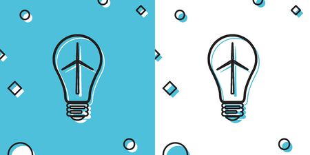 Black Light bulb with wind turbine as idea of eco friendly source of energy icon isolated on blue and white background. Alternative energy concept. Random dynamic shapes. Vector Illustration