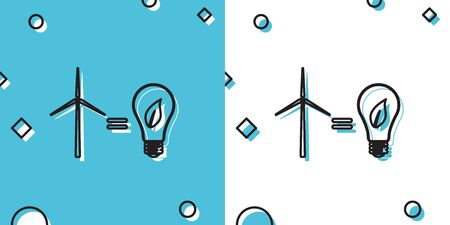 Black Wind turbine and light bulb with leaves as idea of eco-friendly source of energy icon isolated on blue and white background. Random dynamic shapes. Vector Illustration