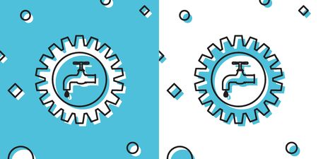 Black Gearwheel with tap icon isolated on blue and white background. Plumbing work symbol. Random dynamic shapes. Vector Illustration