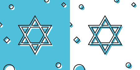 Black Star of David icon isolated on blue and white background. Jewish religion symbol. Random dynamic shapes. Vector Illustration