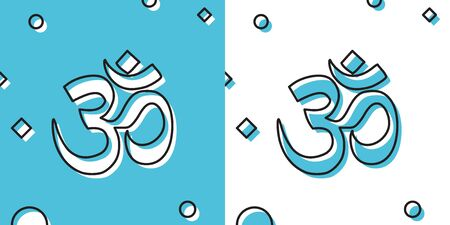 Black Om or Aum Indian sacred sound icon on blue and white background. Symbol of Buddhism and Hinduism religions. The symbol of the divine triad of Brahma, Vishnu and Shiva. Vector Illustration