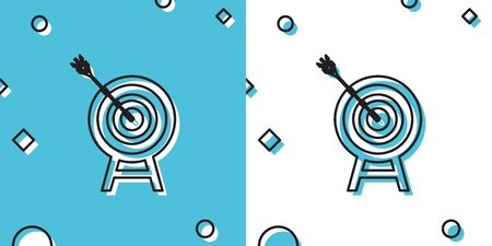 Black Target with arrow icon isolated on blue and white background. Dart board sign. Archery board icon. Dartboard sign. Business goal concept. Random dynamic shapes. Vector Illustration