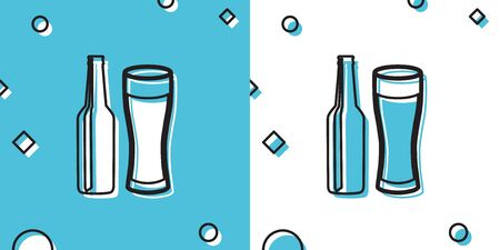 Black Beer bottle and glass icon isolated on blue and white background. Alcohol Drink symbol. Random dynamic shapes. Vector Illustration Ilustrace