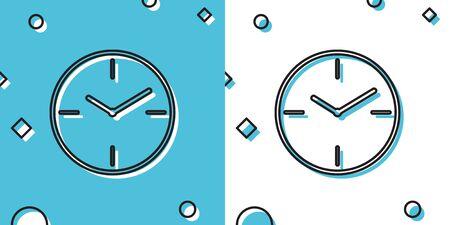 Black Clock icon isolated on blue and white background. Time symbol. Random dynamic shapes. Vector Illustration Ilustrace