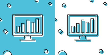 Black Computer screen with financial charts and graphs icon isolated on blue and white background. Chart bars and financial analytics. Random dynamic shapes. Vector Illustration Ilustrace
