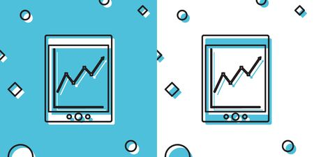 Black Tablet with statistic graph chart icon isolated on blue and white background. Financial chart and graph sign. Random dynamic shapes. Vector Illustration Ilustrace
