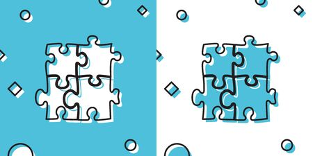 Black Piece of puzzle icon isolated on blue and white background. Business, marketing, finance, template, layout, infographics, internet concept. Random dynamic shapes. Vector Illustration