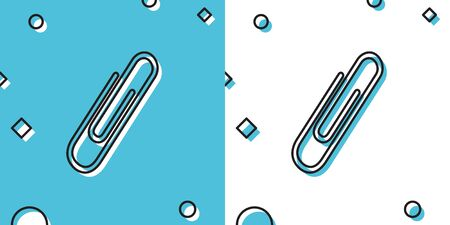 Black Paper clip icon isolated on blue and white background. Random dynamic shapes. Vector Illustration