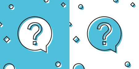 Black Question mark in circle icon isolated on blue and white background. Hazard warning symbol. Help symbol. FAQ sign. Random dynamic shapes. Vector Illustration
