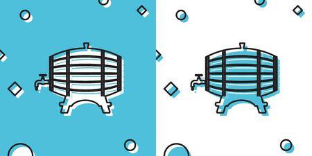 Black Wooden barrel on rack with stopcock icon isolated on blue and white background. Random dynamic shapes. Vector Illustration Standard-Bild - 147385897