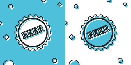 Black Bottle cap with beer word icon isolated on blue and white background. Random dynamic shapes. Vector Illustration