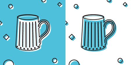 Black Wooden beer mug icon isolated on blue and white background. Random dynamic shapes. Vector Illustration
