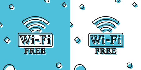 Black Free Wi-fi icon isolated on blue and white background. Wi-fi symbol. Wireless Network icon. Wi-fi zone. Random dynamic shapes. Vector Illustration