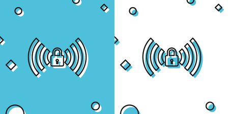Black Wifi locked sign icon isolated on blue and white background. Password Wi-fi symbol. Wireless Network icon. Wifi zone. Random dynamic shapes. Vector Illustration